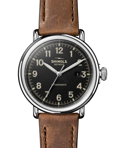Men's 45mm Runwell Automatic Leather Watch