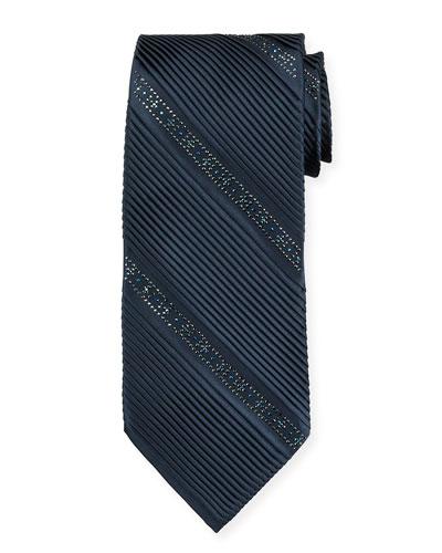 Crystal Pleated Silk Tie