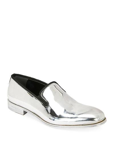 Men's Metallic Leather Slip-On Dress Shoes