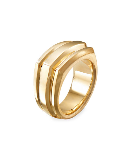 Image 3 of 3: David Yurman Men's 18K Deco Cigar Band Ring