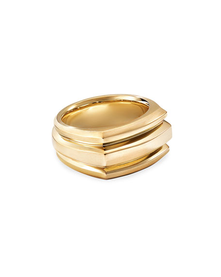 Image 1 of 3: David Yurman Men's 18K Deco Cigar Band Ring