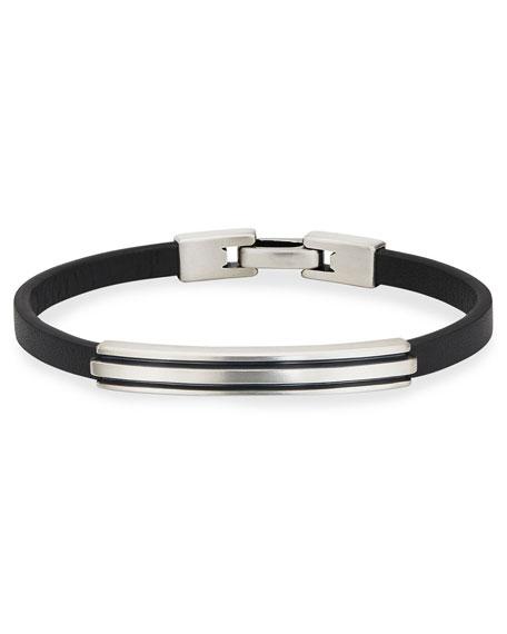 David Yurman Men's Deco Leather/Silver ID Bracelet