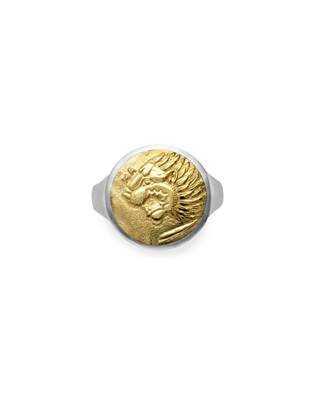 David Yurman Men's Petrus Lion Coin Signet Ring