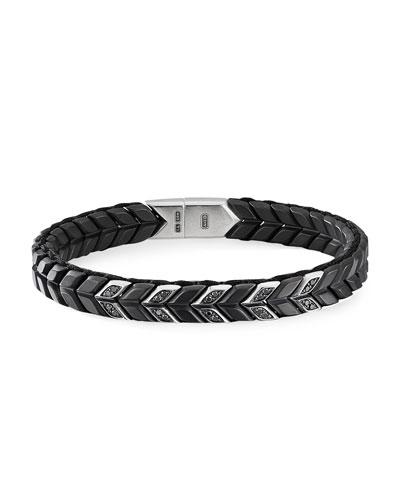 Men's Narrow Chevron Pave Link Bracelet