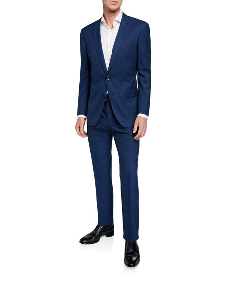 BOSS Men's Slim-Fit Micro-Pattern Two-Piece Wool Suit