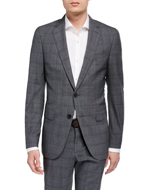 a44b2c4397920 BOSS Men's Slim-Fit Plaid Two-Piece Wool Suit