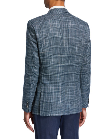 BOSS Men's Plaid Wool/Silk Two-Button Jacket