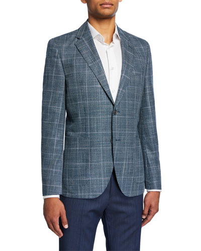 Men's Plaid Wool/Silk Two-Button Jacket