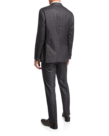 BOSS Men's Slim Fit Wool Check Two-Piece Suit