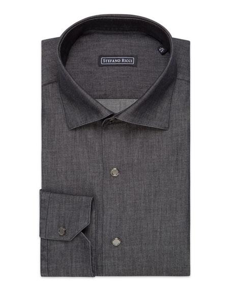 Stefano Ricci Men's Eboli Handmade Cotton/Cashmere Dress Shirt