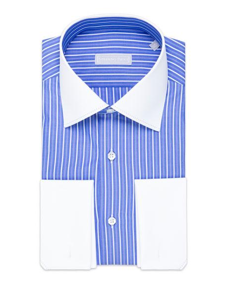Stefano Ricci Men's Asti Striped Cotton Dress Shirt with White Collar/Cuffs