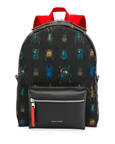 Men's Multicolor Beetle-Print Leather Backpack