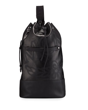bd5709345dc886 MCM Men's Max Coated Canvas Large Drawstring Backpack