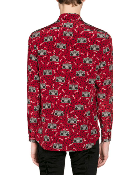 Saint Laurent Men's Radio-Print Long-Sleeve Silk Sport Shirt