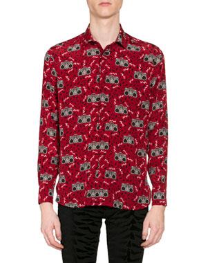 ad39b1ee Saint Laurent Men's Radio-Print Long-Sleeve Silk Sport Shirt