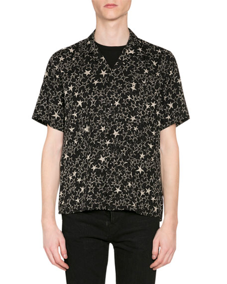 Saint Laurent Men's Stars-Printed Short-Sleeve Sport Shirt
