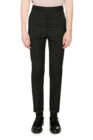 Saint Laurent Men's Pinstriped Wool Trousers