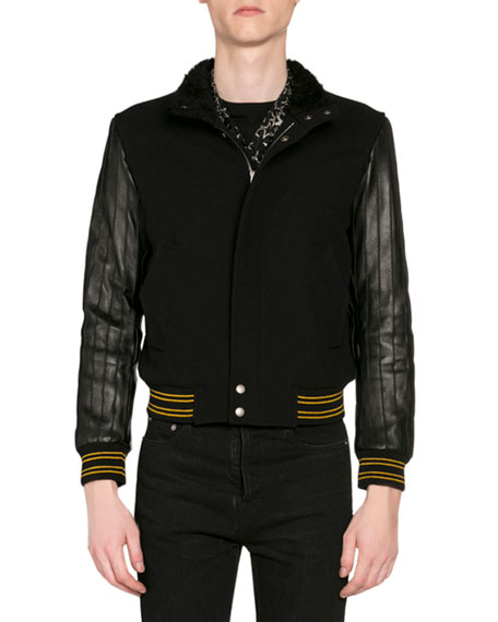 Saint Laurent Men's Teddy Varsity Jacket w/ Leather Sleeves