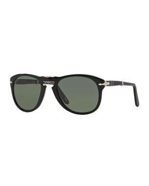9d6c4c79ec2 Persol Men s Rounded Acetate Pilot Sunglasses