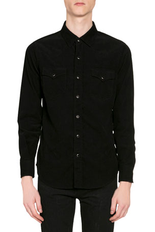 Saint Laurent Men's Corduroy Western Shirt