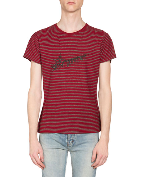 Saint Laurent Men's Striped Star Logo Short-Sleeve T-Shirt