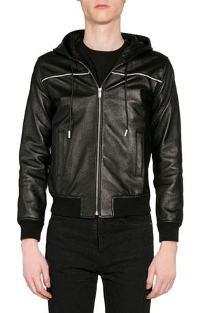 Saint Laurent Men's Leather Zip-Front Hoodie