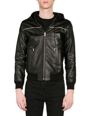 d3da59d5 Saint Laurent Men's Leather Zip-Front Hoodie
