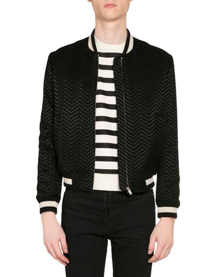 Saint Laurent Men's Embroidered Chevron Bomber Jacket