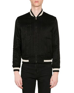 20ee24e12700bb Saint Laurent Men's Embroidered Chevron Bomber Jacket