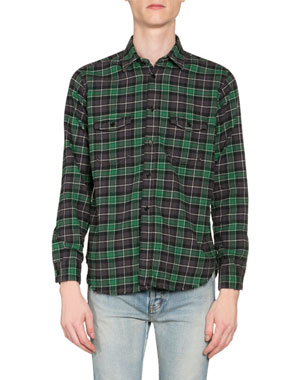 7d800a2f633 Saint Laurent Men's Plaid Oversized Flannel Shirt