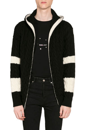 Saint Laurent Men's Baja Colorblock Open-Front Cable-Knit Hoodie Cardigan