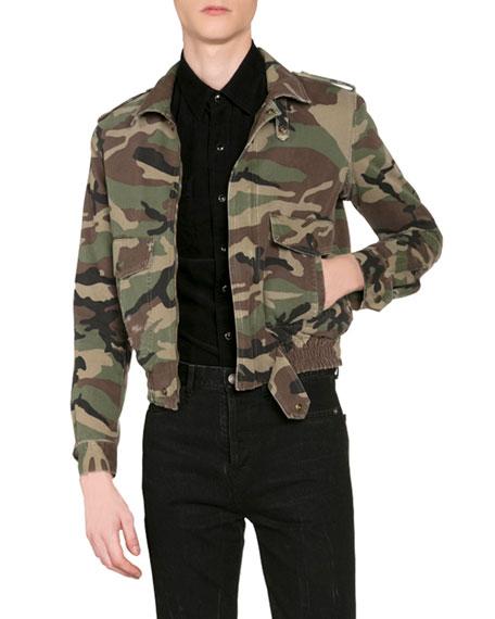 Saint Laurent Men's Camo Aviator Jacket w/ Shearling Lining