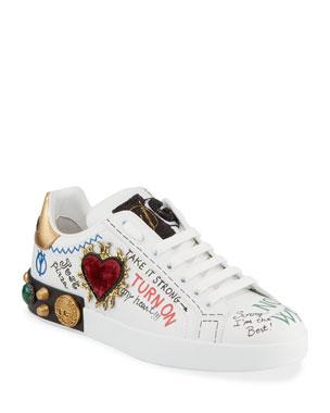 bddc09fd Dolce & Gabbana Men's Graffiti Portofino Jeweled Low-Top Sneakers