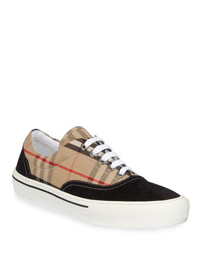 Men's Wilson Vintage Check Cotton & Suede Sneakers