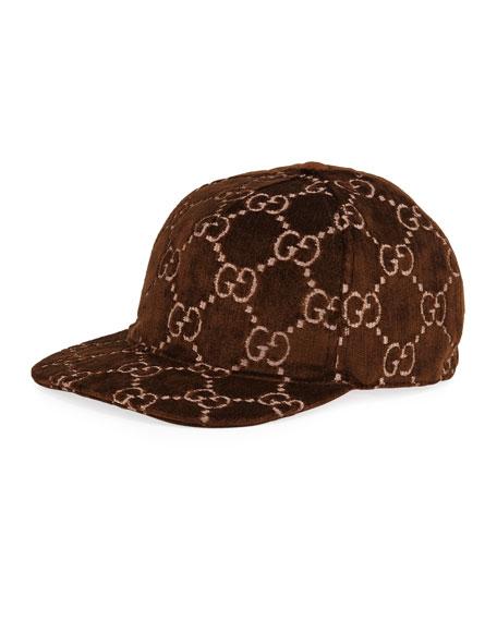 Gucci Men's Logo-Embroidered Velvet Baseball Hat
