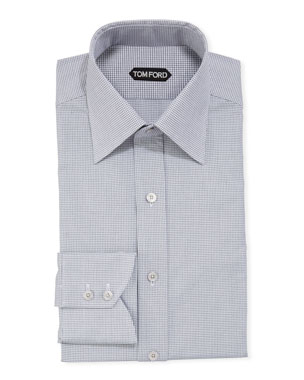 adeb1a7c18 TOM FORD Men's Micro-Check Dress Shirt w/ Mother-of-Pearl Buttons