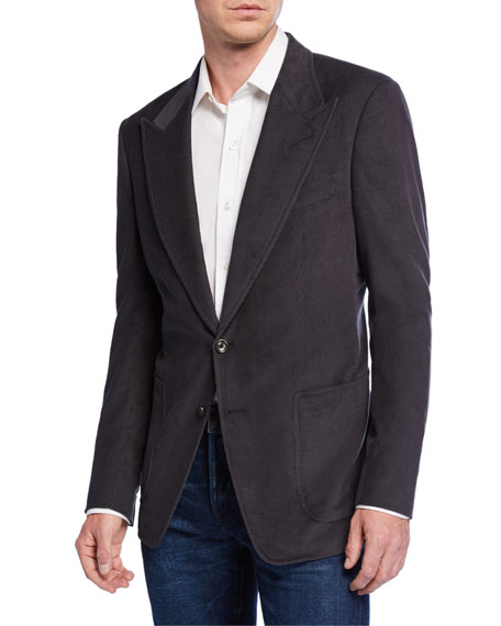 TOM FORD Men's Shelton Corduroy Two-Button Jacket, Gray