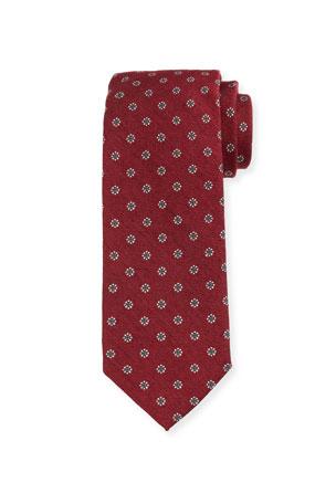Bigi Men's Floral Silk-Wool Tie, Red