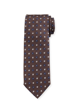Bigi Men's Flower-Print Oxford Silk Tie