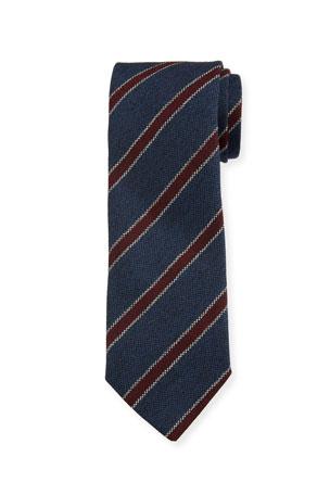 Bigi Men's Contrast-Stripe Wool Tie