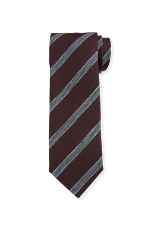 Bigi Men's Contrast-Stripe Wool Tie