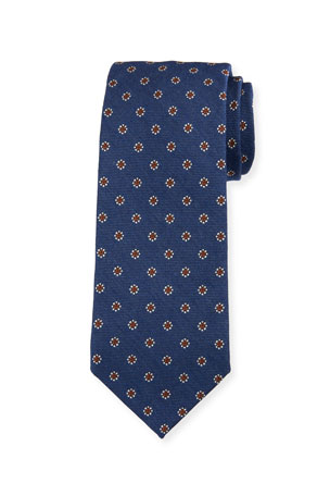 Bigi Men's Floral Silk-Wool Tie, Blue