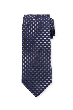 Bigi Men's Small Floral Silk Tie, Dark Blue