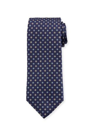 Bigi Men's Small Floral Silk Tie, Dark Blue