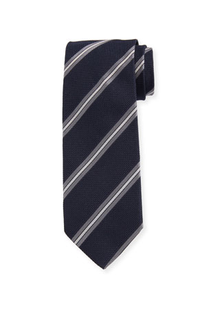 Bigi Men's Diagonal Stripe Silk Grenadine Tie