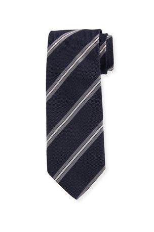 Bigi Men's Diagonal Stripe Silk Grenadine Tie