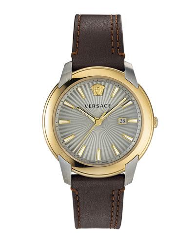 Men's 42mm Urban Watch w/ Leather Strap