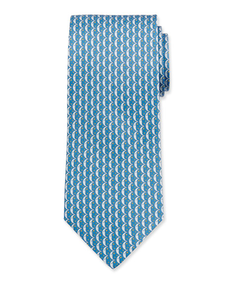 Salvatore Ferragamo Men's Iluna Moon & Stars Silk Tie, Blue
