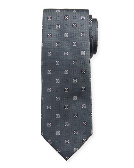 Salvatore Ferragamo Men's Ivrea Gancini Medallion Silk Tie, Gray