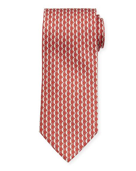 Salvatore Ferragamo Men's Iluna Moon & Stars Silk Tie, Red
